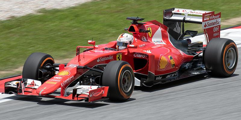 Formula 1 racer Sebastian Vettel at the 2015 Malaysian Grand Prix.