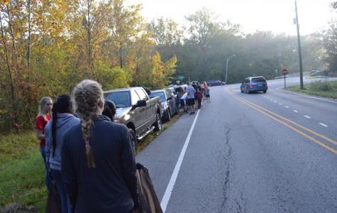 Tri-Hi-Y members participate in cleanup of Fall Creek Road