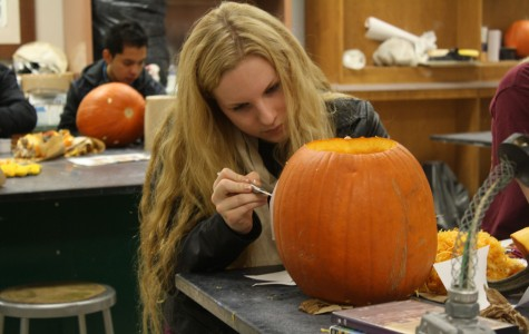 Bradley Holmes' art classes complete new pumpkin-carving project
