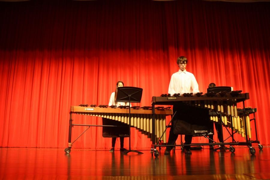 """Sophomore Garrett Swearingen performs his original composition """"Symmetrical Cool Circus."""" For each percussion class's final, they were to write their own song. The class was able to vote for the one to be performed at the concert and Swearingen's piece won."""