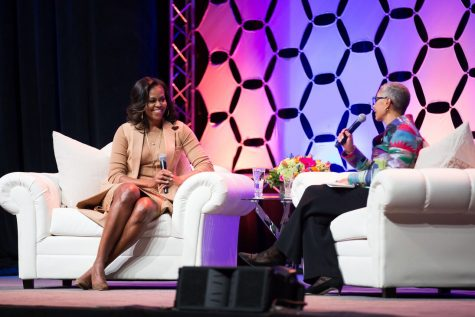 Former First Lady Michelle Obama speaks at Bankers Life Fieldhouse
